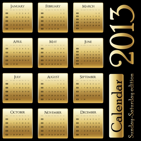 calendar 2013 - Sunday-Saturday edition Stock Vector - 15615034