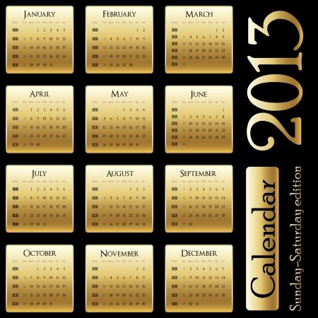 Kalender 2013 - Sonntag-Samstag-Ausgabe Illustration