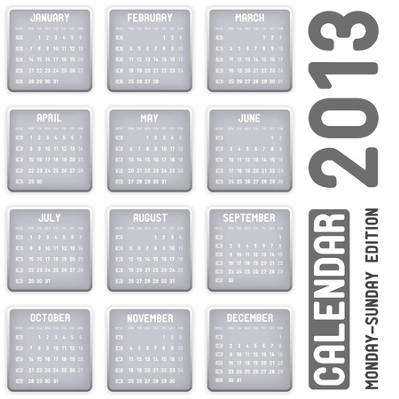 calendar 2013 - Monday-Sunday edition Vector