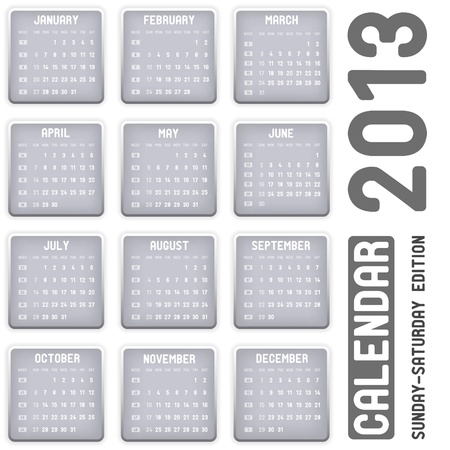 calendar 2013 - Sunday-Saturday edition Vector