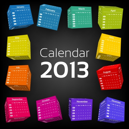 calendar september: 3d cube calendar 2013 Illustration