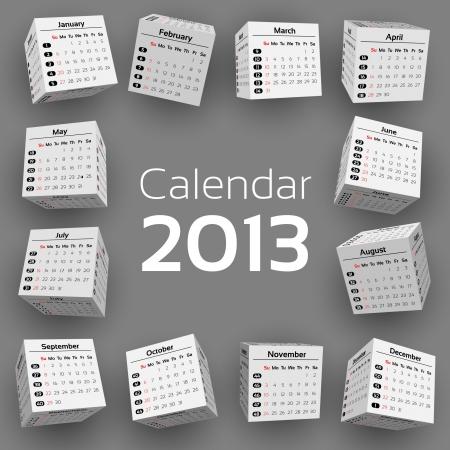 3d cube calendar 2013 Stock Vector - 15940072