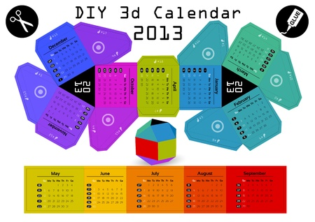 3d DIY Calendar 2013 ,9 inch compiled size Stock Vector - 16003559