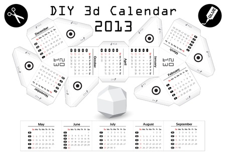 3d DIY Calendar 2013 3,9 inch compiled size Stock Vector - 16003562