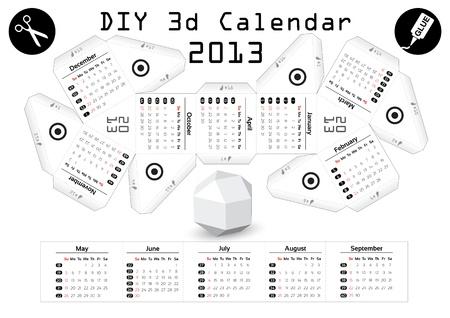 3d DIY Calendar 2013 3,9 inch compiled size