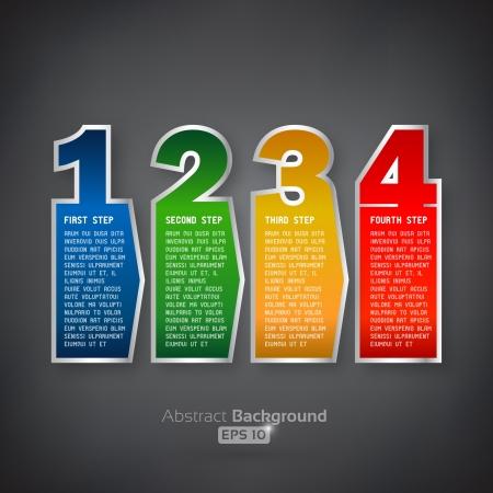 네 단계 다채로운 태그