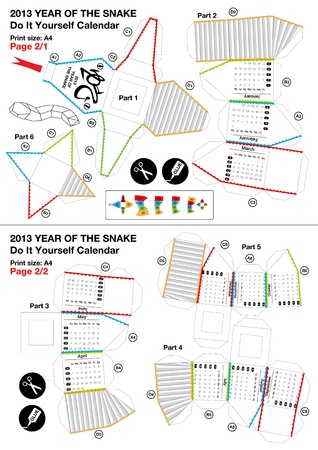 3d do it yourself papercraft calendar - Year of the Snake 2013 Vector