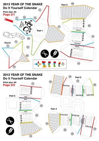 snake calendar: 3d do it yourself papercraft calendar - Year of the Snake 2013