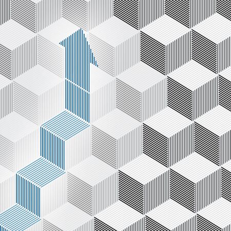 overlapping: Growing arrow on 3d cubes Illustration