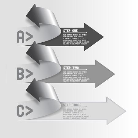 Three step arrows Vettoriali
