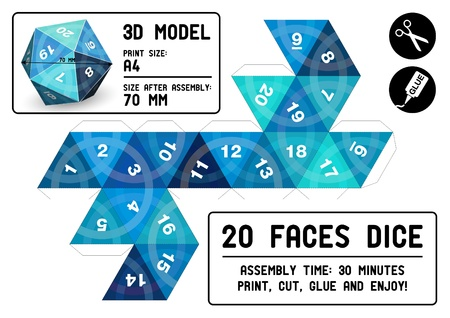 20-sided papercraft dice Vector