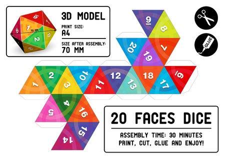 role model: 20-sided papercraft dice