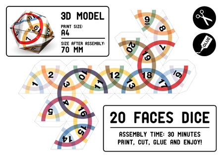papercraft: 20-sided papercraft dice