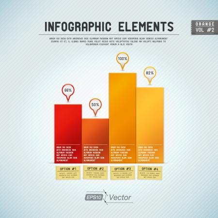 graficos de barras: Detalladas elementos infographic colorida