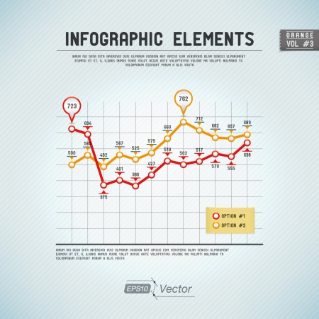 line graph: Detailed colorful infographic elements