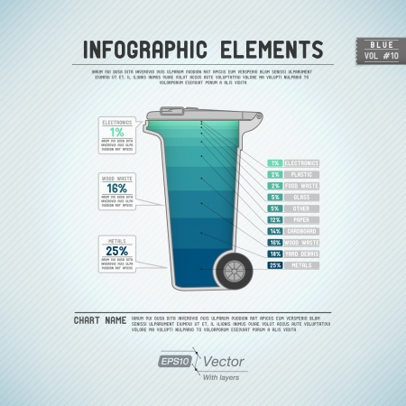 �garbage: Detalladas elementos infographic colorida