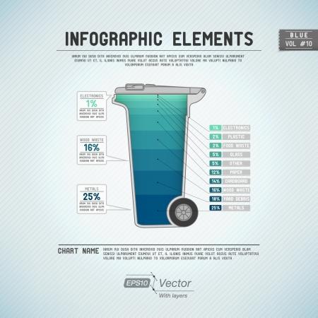 Śmieciarka: Szczegółowe kolorowe elementy infographic