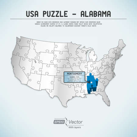 alabama: USA map puzzle - One state-one puzzle piece Illustration