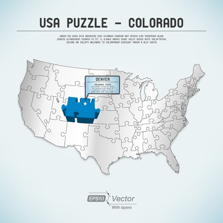 denver colorado: USA map puzzle - One state-one puzzle piece Illustration