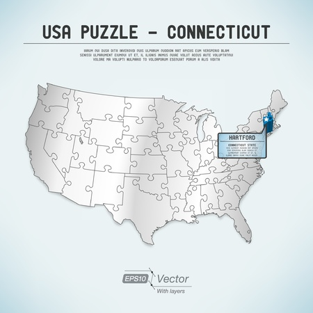 USA map puzzle - One state-one puzzle piece Illustration