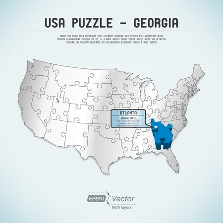 atlanta: USA map puzzle - One state-one puzzle piece Illustration