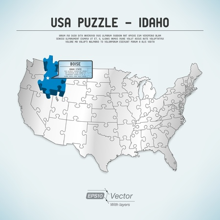 USA Map Puzzle One Stateone Puzzle Piece Royalty Free Cliparts