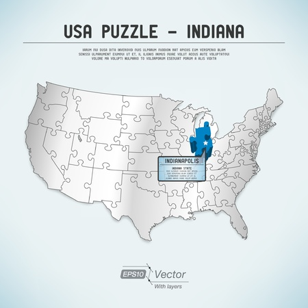 indianapolis: USA map puzzle - One state-one puzzle piece Illustration