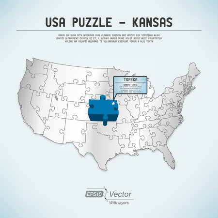 USA map puzzle - One state-one puzzle piece Vector