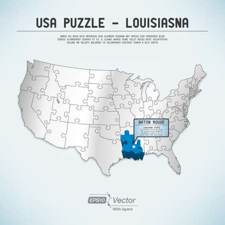 baton rouge: USA map puzzle - One state-one puzzle piece Illustration