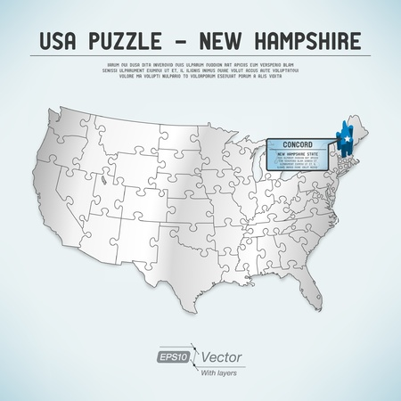 USA map puzzle - One state-one puzzle piece Stock Vector - 19468867