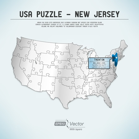 USA map puzzle - One state-one puzzle piece Vettoriali