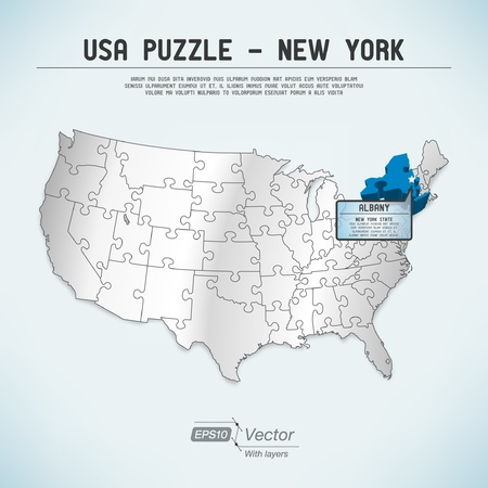 albany: USA map puzzle - One state-one puzzle piece Illustration