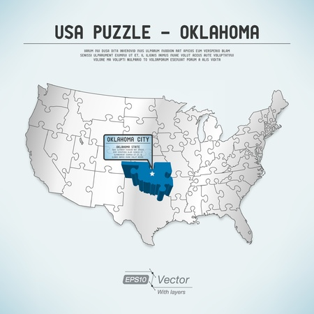 oklahoma: USA map puzzle - One state-one puzzle piece Illustration