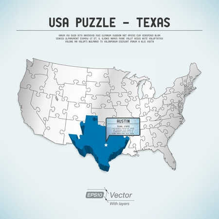 austin: USA map puzzle - One state-one puzzle piece Illustration