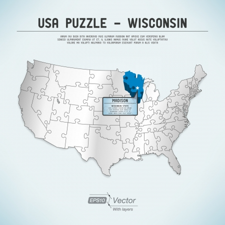 state of wisconsin: USA map puzzle - One state-one puzzle piece Illustration