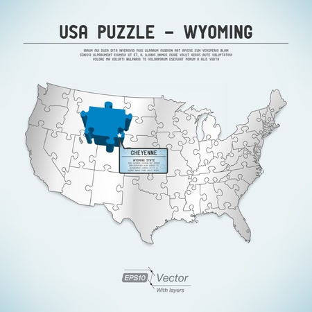 wyoming: USA map puzzle - One state-one puzzle piece Illustration