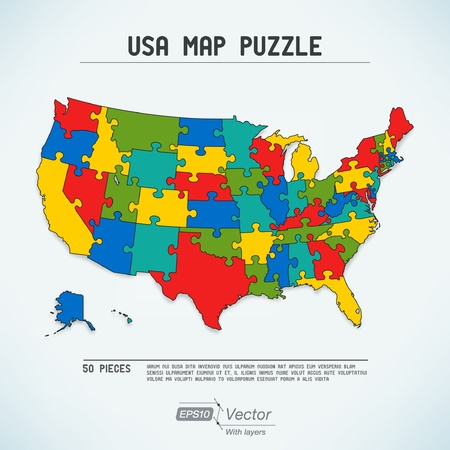 map of usa: USA map puzzle Illustration