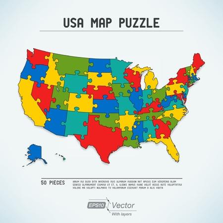 usa map: USA map puzzle Illustration