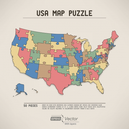 USA map puzzle Ilustrace