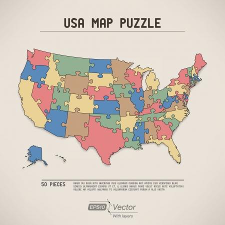 USA map puzzle Illustration