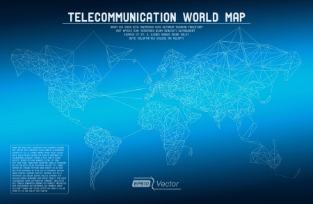 telecommunication: Abstract telecommunication world map with circles, lines and gradients
