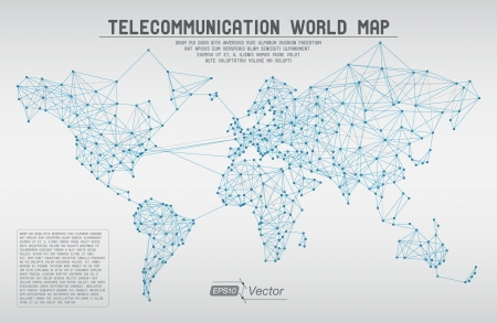 connected world: Abstract telecommunication world map with circles, lines and gradients