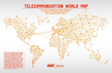 Abstract telecommunication world map with circles, lines and gradients Stock Vector - 20236255
