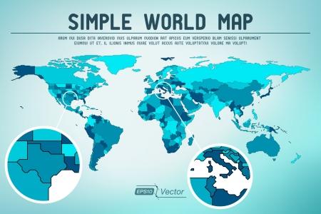 mapa: Resumen de diseño simple mapa del mundo Vectores