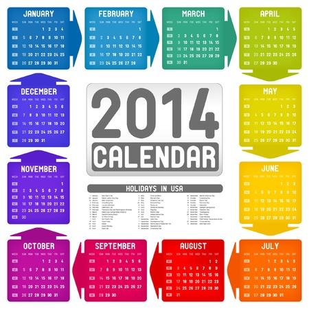 Vector colorful calendar 2014