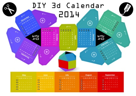 3d DIY Calendar 2014   3,1x2,9 inch compiled size Vector