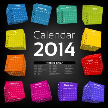 3d cube calendar 2014 Ilustração