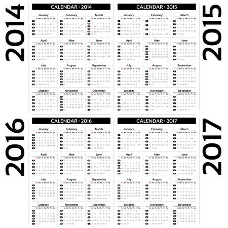 Calendar 2014, 2015, 20126, 2017  Vector