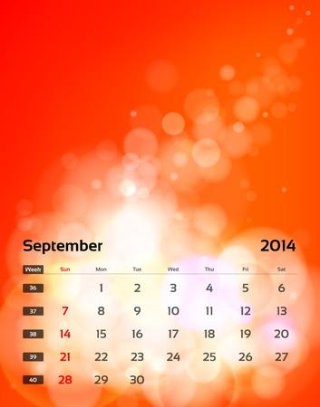 Vector calendar 2014 - September Vector