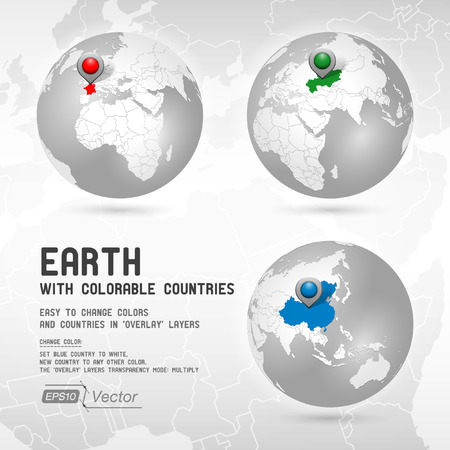 south east asia: Globe with colorable countries - silver - Part one Illustration
